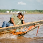 """Can you hear me now?"" Strangely, he had a better signal in the middle of the Ucayali River than we get in Memphis!!"