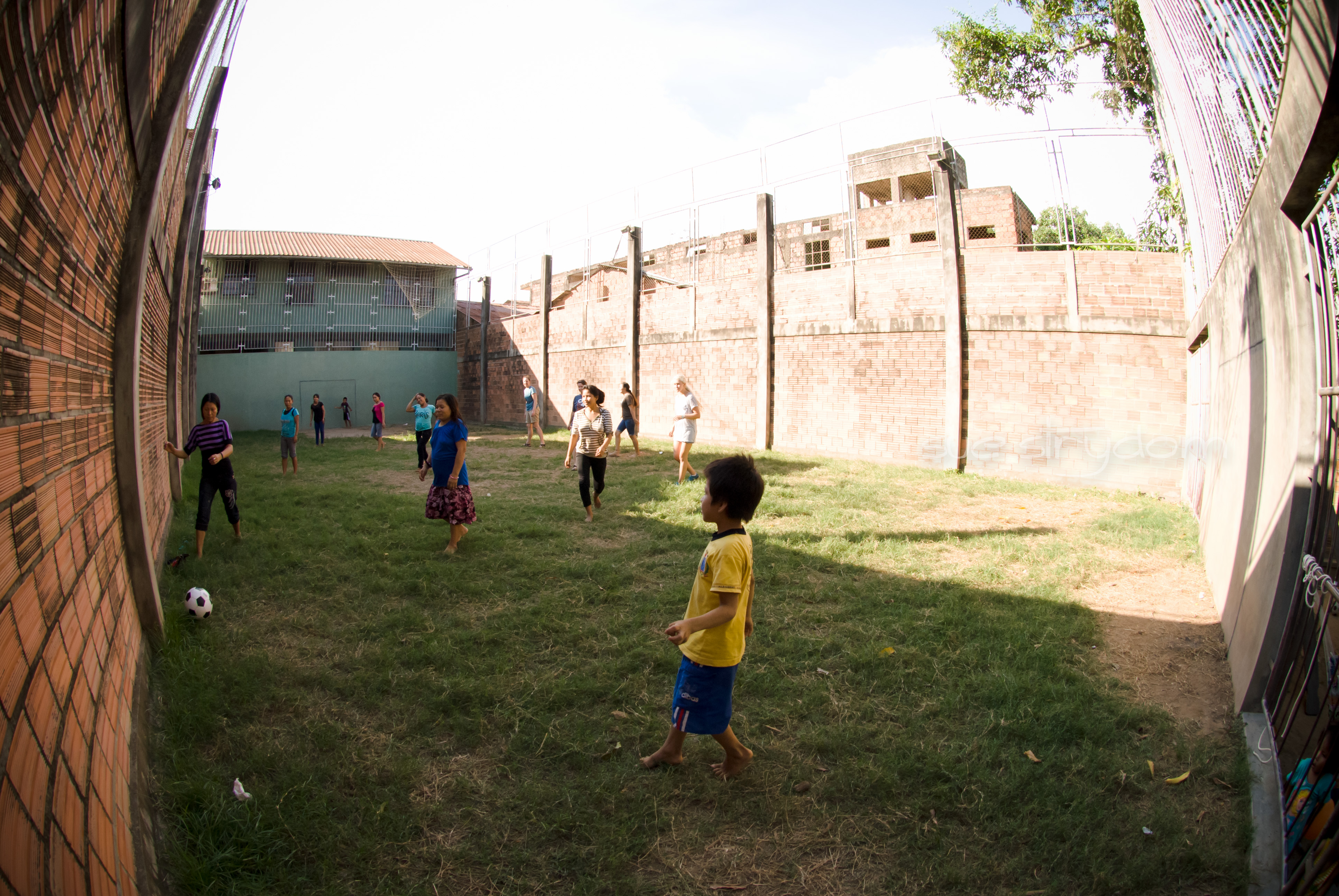 The soccer field. Looks kinda prison-esque, right? But it's theirs. It's safe. And it serves as the only area where they can burn some physical energy.